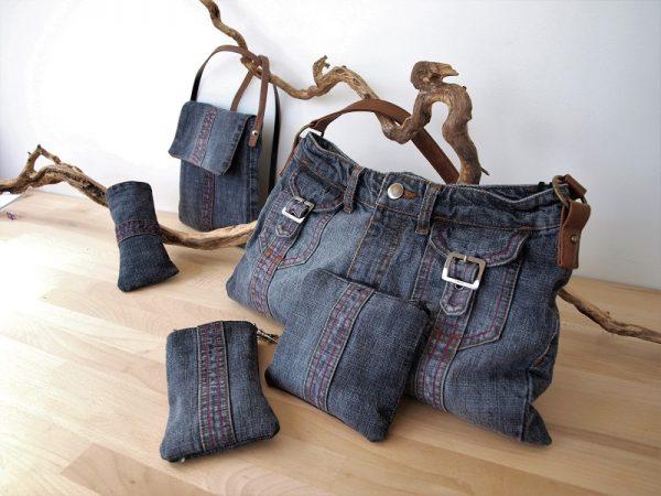 Ensemble sac à main, phone bag et accessoires en jean recyclé gris Créaléliam