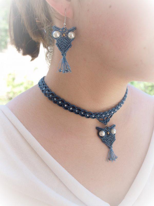collier micro-macramé Créaléliam parure chouettes bleues