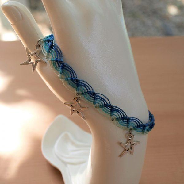 Bracelet de cheville bleu étoiles Créaléliam