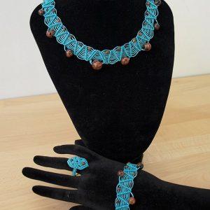 Parure macramé turquoise et perles d'obsidienne brune Créaléliam