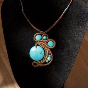 Collier ethnique turquoise et macramé créaléliam